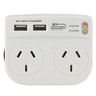 Surge Protected Mains Double Adaptor with 2 x USB Ports